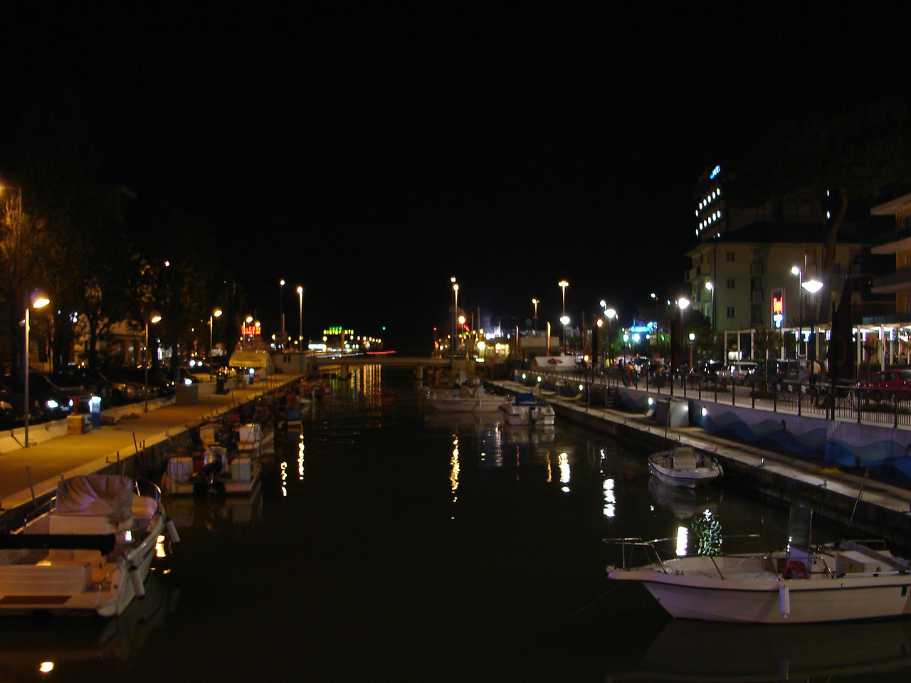 the canal at night.