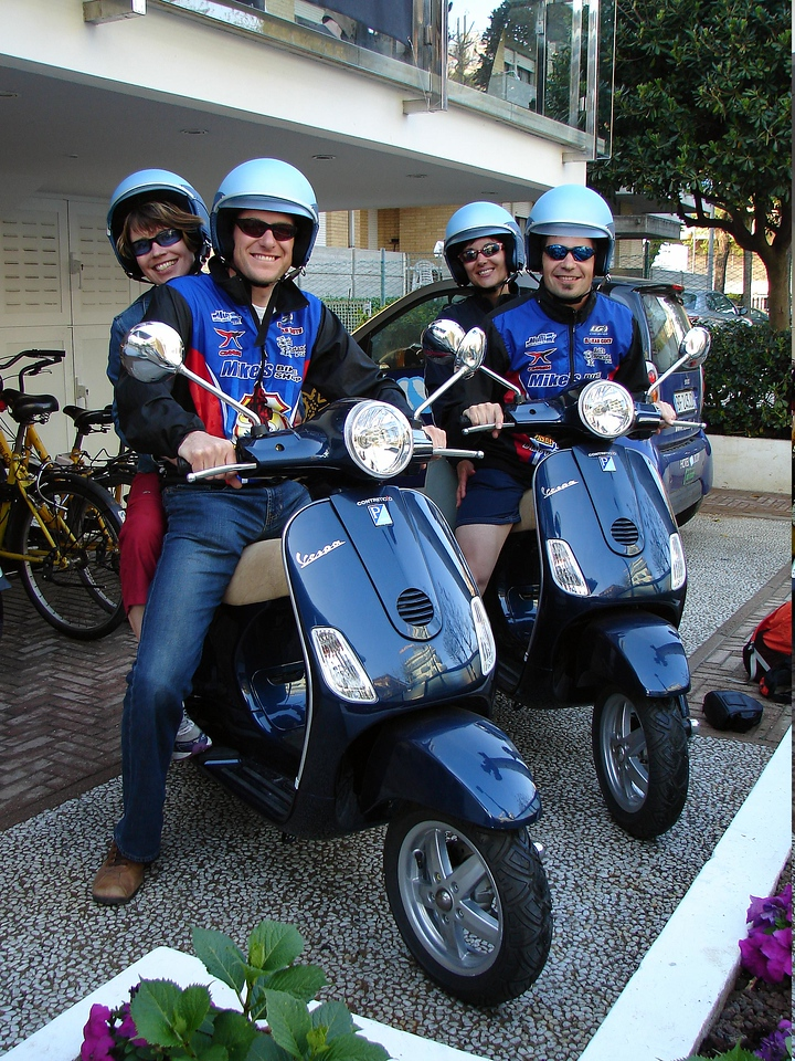 Scooter Kids. Fun. we took these to zip out to some local bike shops. sweet fun. if i lived there...i'd have one. but a faster one and with brakes that really worked.