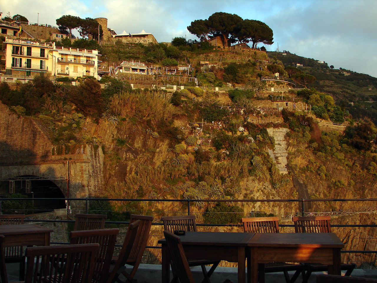 This is the restarunt on the cliff. the grouping of trees is where i had taken the reverse photos from.