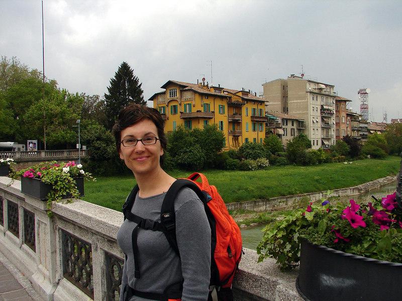 Just walking around Parma. Over a main bridge here.