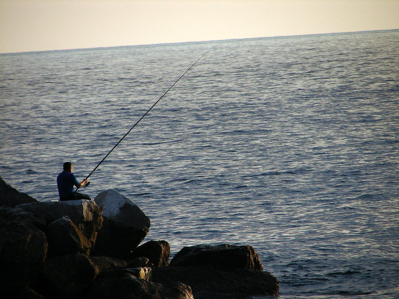 Fishing in the Medeterainian at sunset.