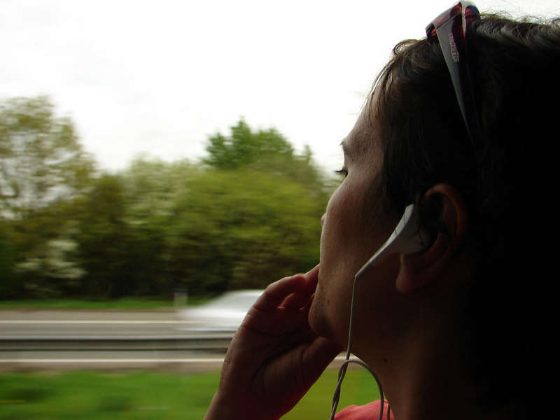 zoning out on the bus from Stanstead to Gatwick.