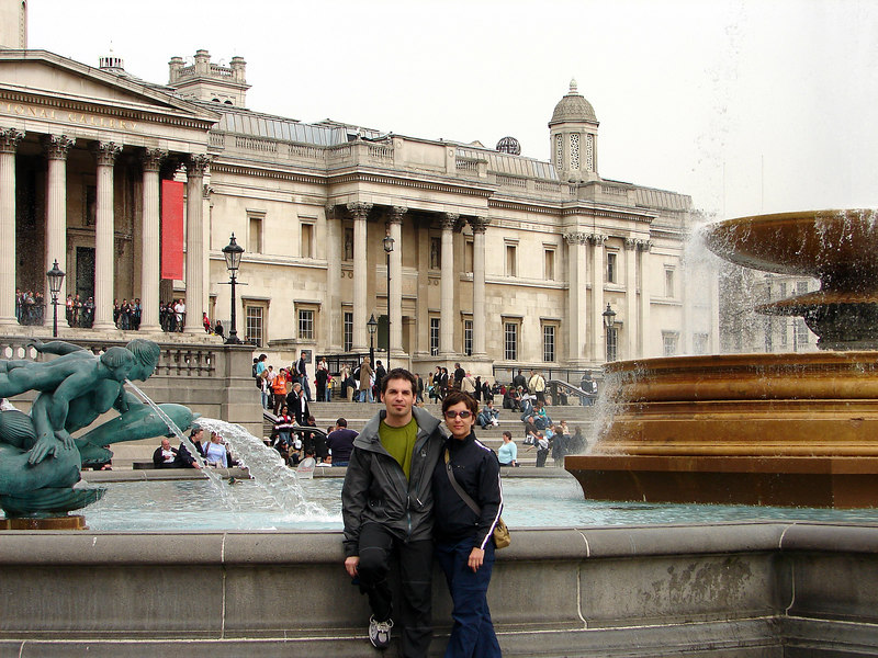 In front of the National Gallery...aka Trafalgar Square. Cool little lunching spot across from it....Pret a Manger. Equivalent to Subway here :) Awesome sammiches.