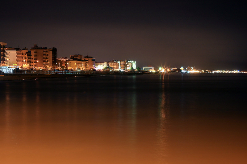 This is a long exposure of the Riccione coastline looking north along the adriatic.