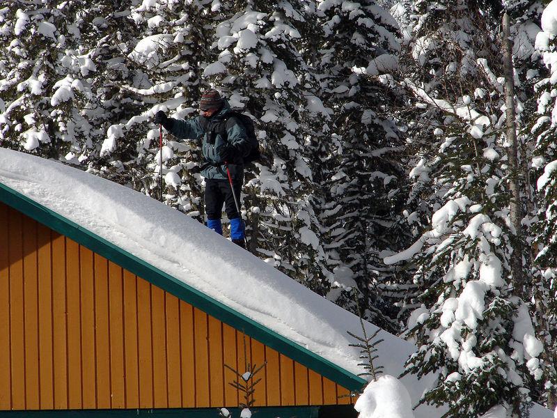 Just a bit of snow. White Room summiting the summit hut.