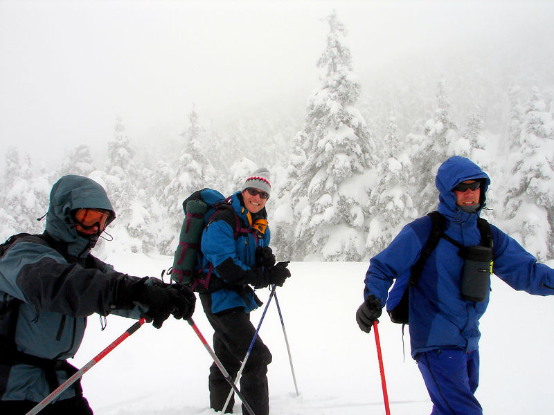 """Day three. heading off the summit generally northbound on La Lac trail. 100' visibility, screaming winds and blowing snow from the west. Here we got lost for a bit following """"super family"""" and then made our way to the best glade skiing i've ever done.  Videos are available but not on this site :-("""