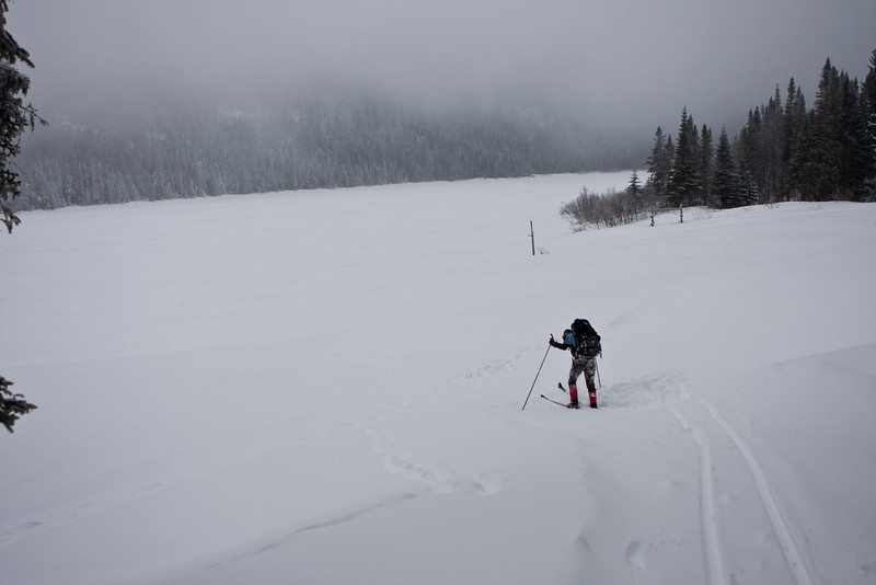 Start of the winter trail has us crossing the lake.