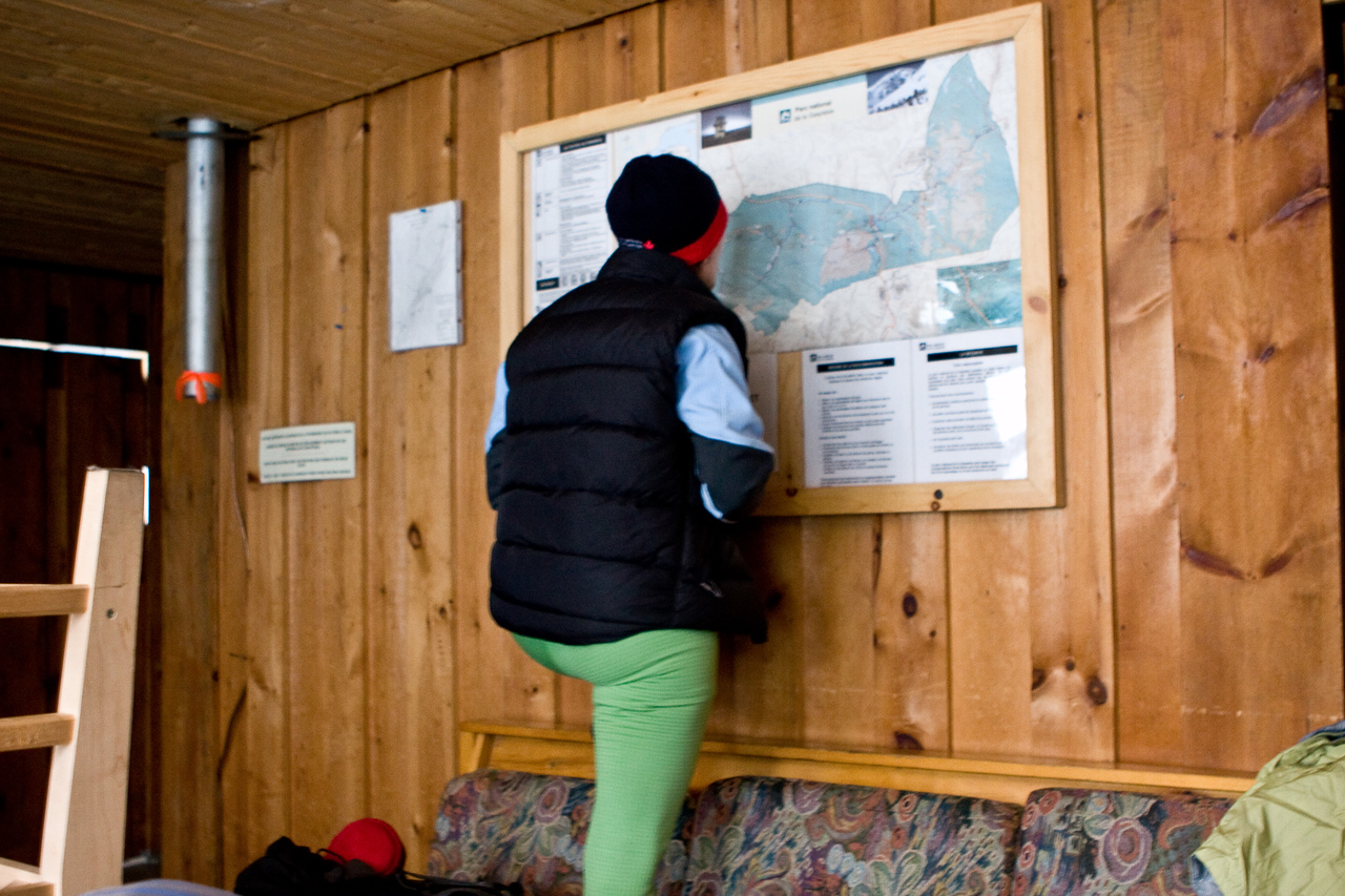 Michelle looking over the map of the park. our route planned on 10km/11km/11km/10km.