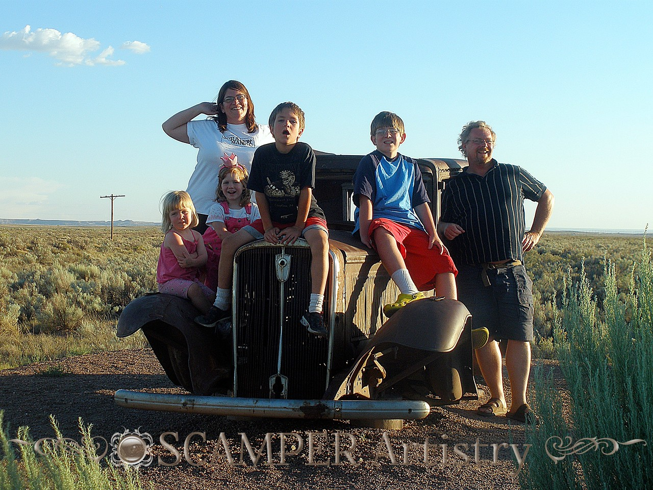 Ellison Family Road Trip '09 - at Petrified National Park, Arizona (this is my fave self-family-portrait) —