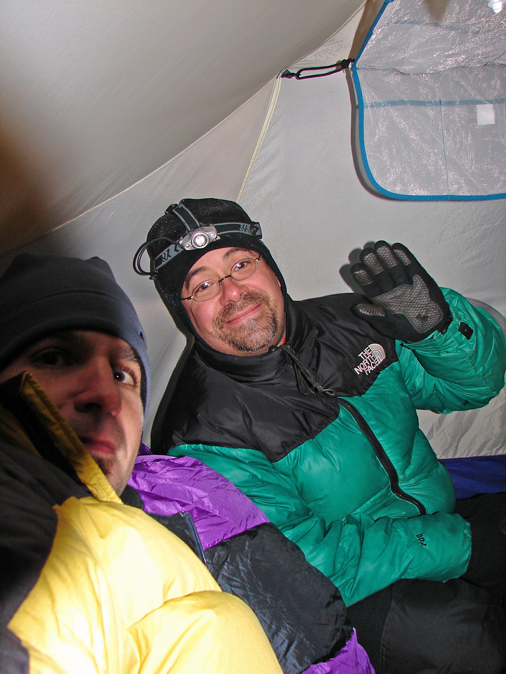 Robby stopped by to visit us on our tent. funny how much room is in a 12 lb tent!