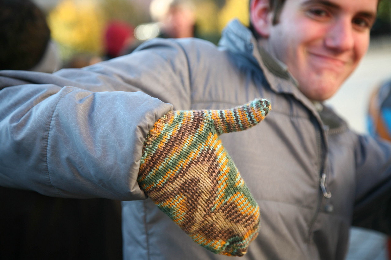 Professional model Chris Carlson showing off new mittens.