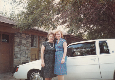 Evelyn and Mom - Ev's new Buick - 1985