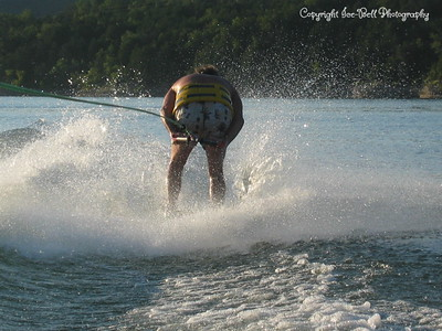 07/23/03  Dad is skiing backwards.  He actually has this trick down pretty good.