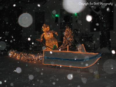 1/20/07  Boat and skier in the snow.  Late evening.