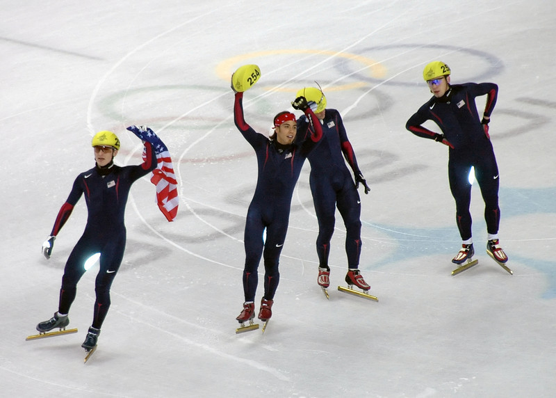Apolo Ohno and American short track team. Americans win the relay.
