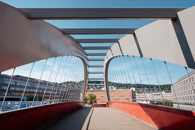 A suspended bridge in Zurich