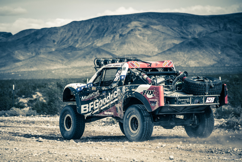 A trophy truck gettin' after it in the Nevada desert.