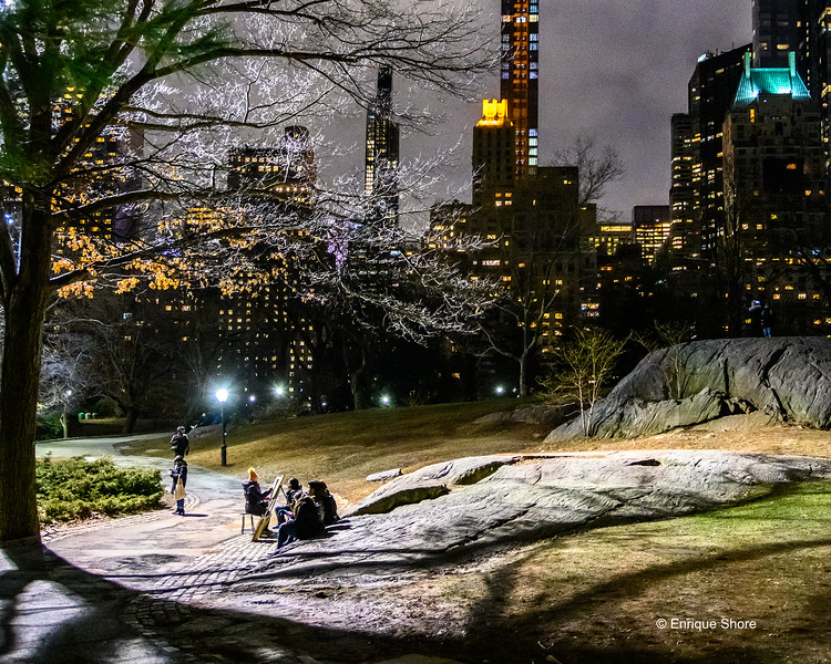Portrait drawing in Central Park, even in winter nights