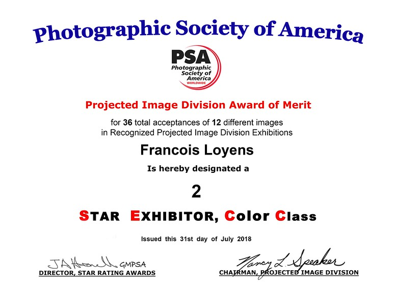 Francois Loyens PIDC Star 2 certificate