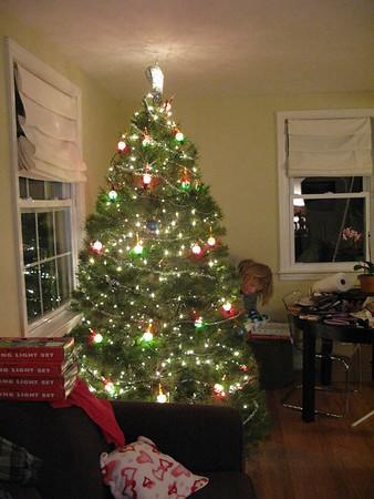 Finishing up the tree lights