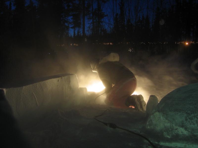 Jena griding down the slide rails