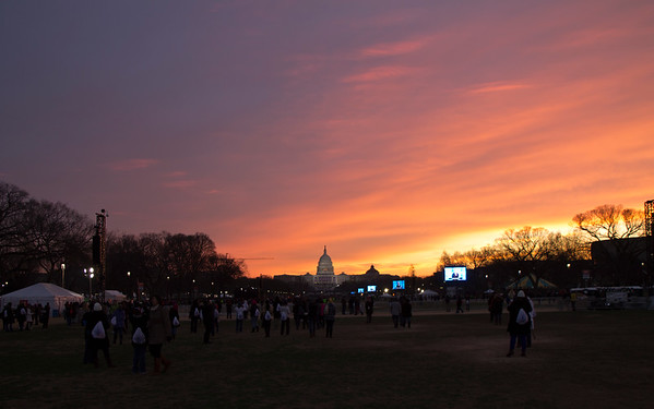 View of the US Capitol building at sunrise