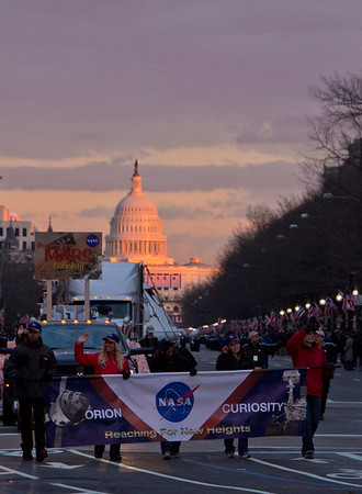 The NASA float coming down Penn Ave.