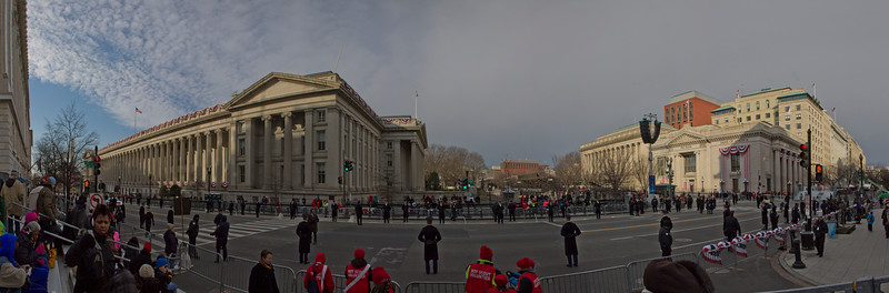 My view from the grandstands, waiting for the inaugural parade to start
