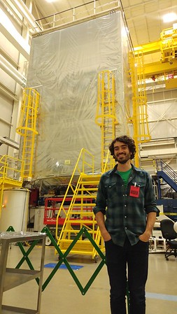 Eric in front of the Webb telescope