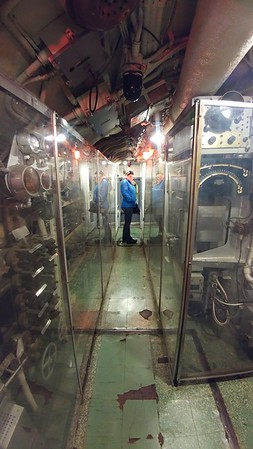 Kaitlin in the U-boat engine room