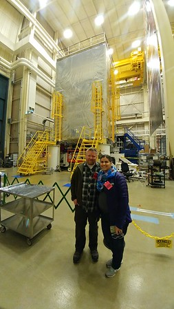 Jason and Quiana in front of the Webb telescope on it's vibration test platform