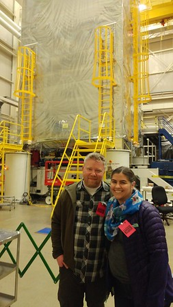 Jason and Quiana in front of the Webb telescope