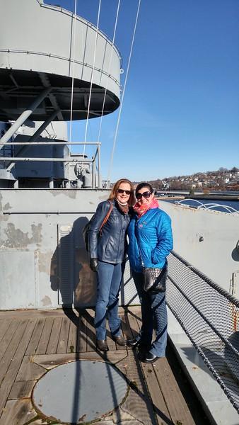 Kaitlin and Marianne on the USS Massachusetts