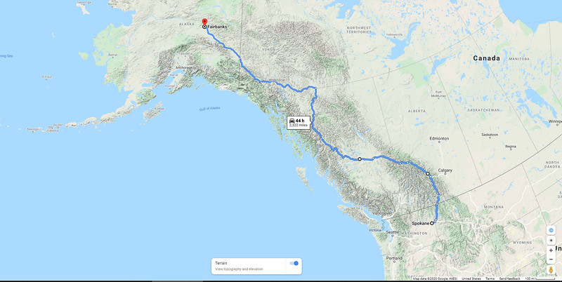 The route we took from Spokane to Fairbanks