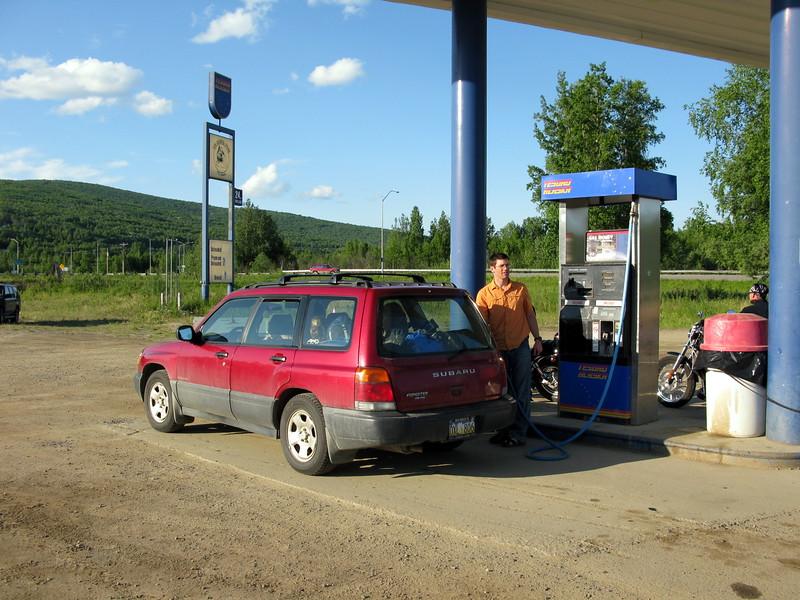 Dan filling up gas in Fox
