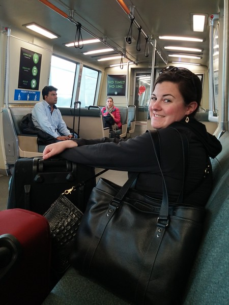 on the BART, headed up into the city