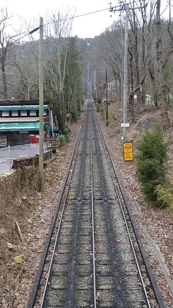 """Looking up """"The Incline"""" railway, which goes up Lookout Mountain"""