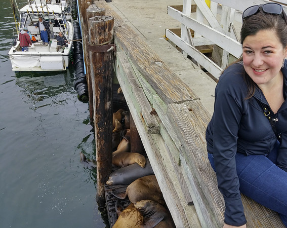 Kaitlin with the sea lions