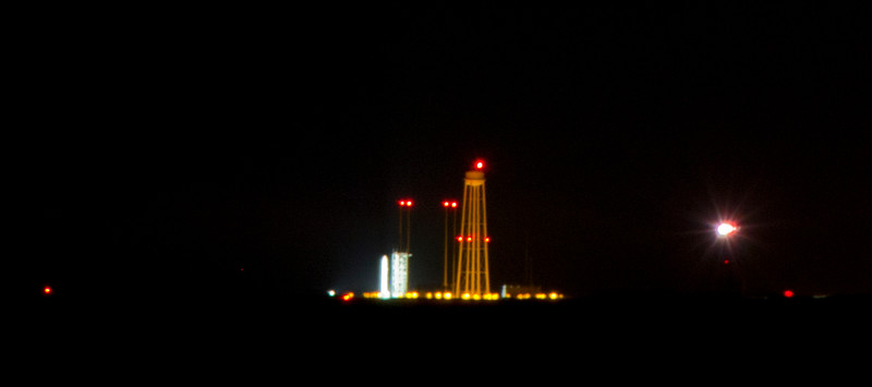 A crazy zoomed in (hence the blurry) LADEE and it's rocket sitting on the launchpad during the countdown