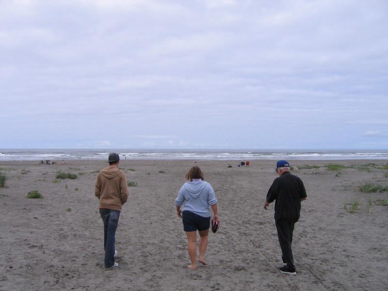 Artie, my mom and grandpa all on the way to the beach. Long Beach, WA