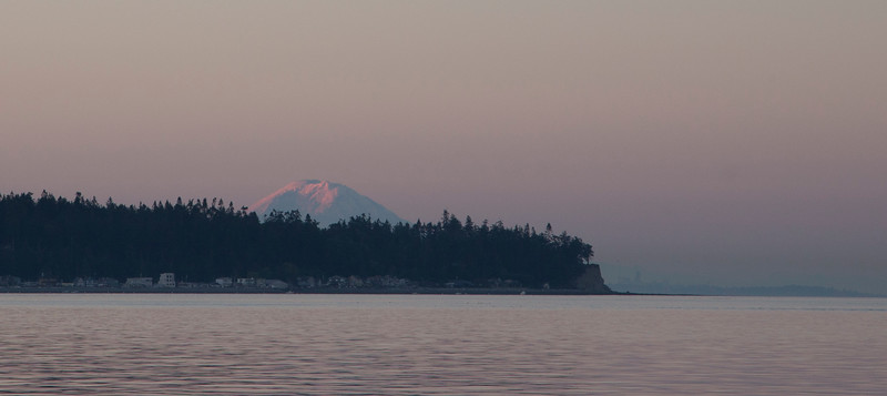 Sunrise on Rainier, from southern Whidbey.