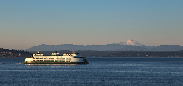 The ferry Kittitas, passing by Mt. Baker in the distance