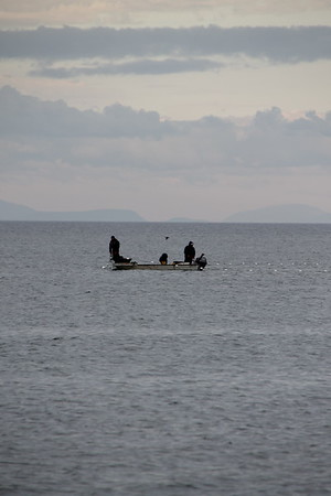 some guys out crabbin' off Dungeness Spit