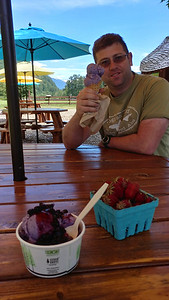 Some tasty blueberry ice cream from Cascadian Farm on Hwy 20