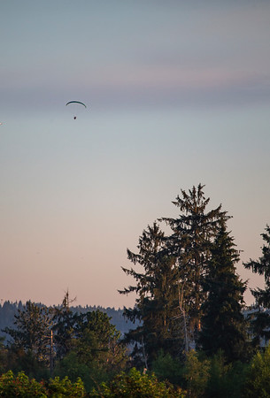 A paramotor/powered paraglider over the Snohomish Valley