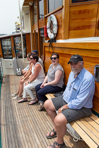 Luke, Sydney, Eileen, Kaitlin and Tom, all aboard the boat for the 'round Manhattan tour!