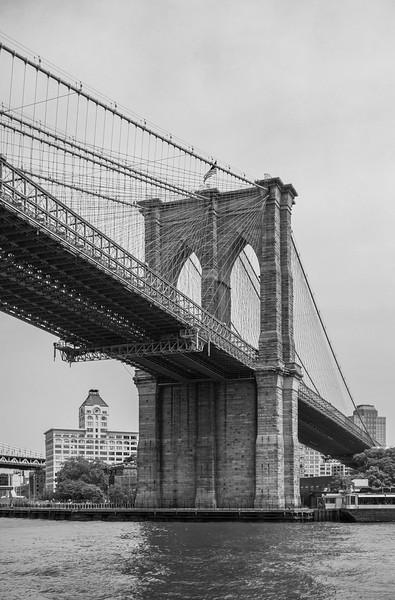 Passing under the Brooklyn Bridge