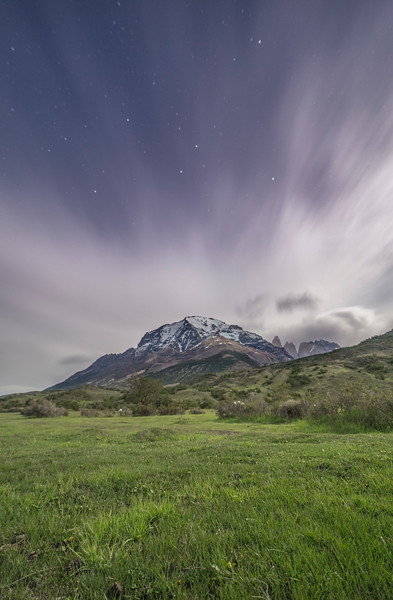 Mount Almirante Nieto and the torres at night