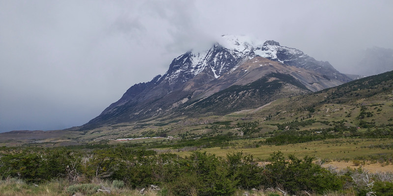 Headed out on my drive for the day... Mount Almirante Nieto and the Hotel Las Torres Patagonia in the foreground