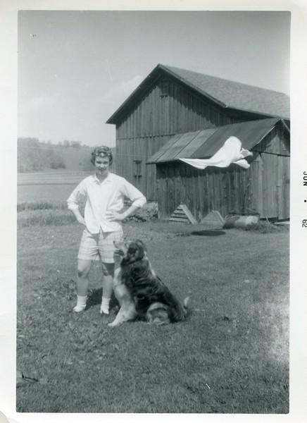 Carol VanDeventer with dog Tippy 1962
